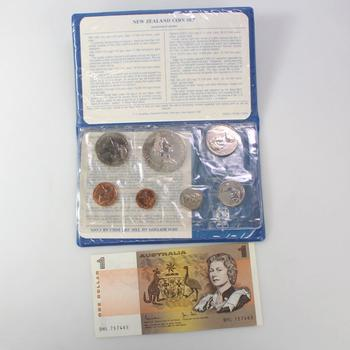 New Zealand Coin Set And Australia One Dollar Note