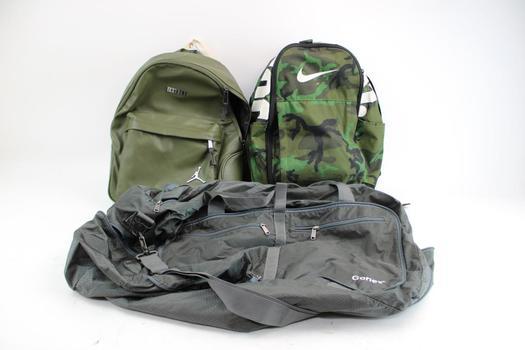 Nike & Air Jordan Backpack & Gonex Duffle Bag; 3 Pieces
