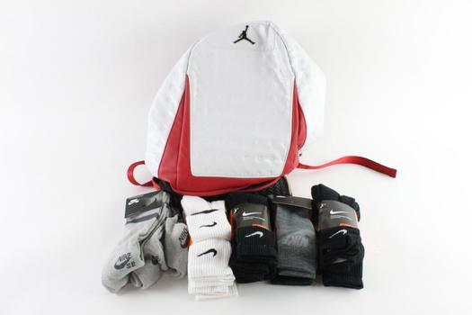 Nike Mens Socks 3-Packs And Nike Air Jordan Backpack, L, 6 Pieces