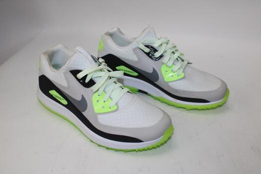 Nike Men's White And Neon Green Running Shoes Size 8.5