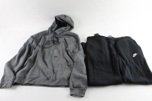 Nike Pull Over Hoodie And Nike Sweatpants, Size Large, 2 Pieces