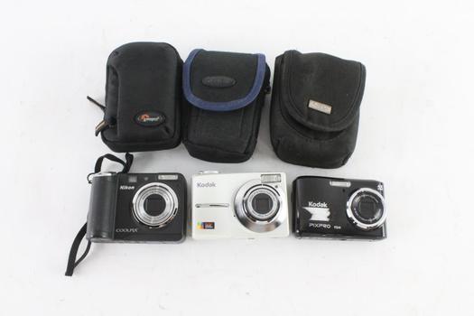 Nikon And Kodak Digital Cameras, 3 Pieces