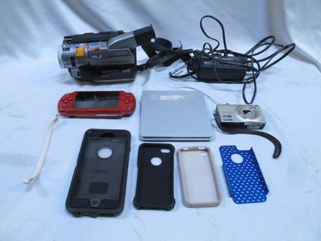 Nikon Camera, PSP, Sony Video Camera, Apple External Disk Drive, Cables: 5+ Pieces