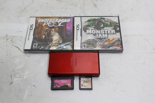 Nintendo DS Lite Game System With Guitar Rock Tour And More Video Games