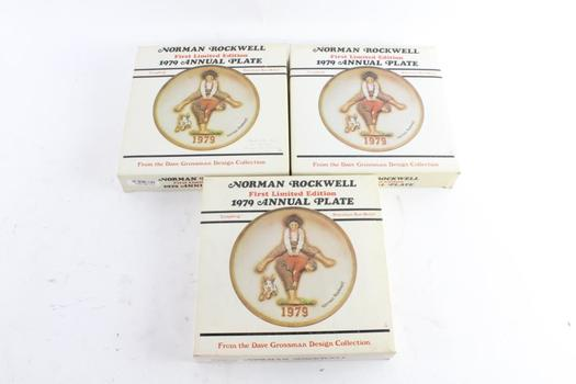 Norman Rockwell First Limited Edition 1979 Annual Plates, 3 Pieces