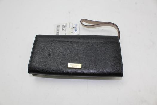NWT Kate Spade Doe Black Leather Bifold Snap Closing Wristlet Wallet