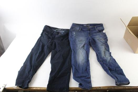 Old Navy And Eddie Bauer Jeans, Size 16P And T16, 2 Pieces