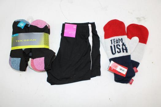 Old Navy Team Usa Mittens, Tek Gear Socks, & SO Kids Shorts; 3 Pieces