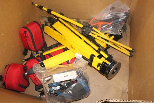 Pallet Of Surveyor Wheel, Surveyor Tripod And More, 9 Pieces