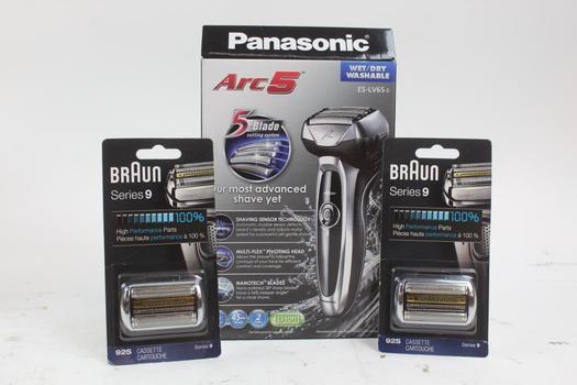 Panasonic Arc 5 Shaver & Braun Series 9 Blade Cartridges; 3 Pieces