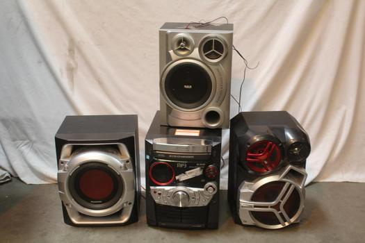 Panasonic CD Stereo System With Subwoofers, 4 Pieces