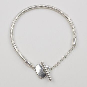 Pandora Silver Moments Heart T-Bar Snake Chain Bracelet