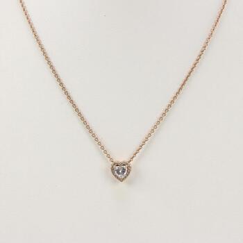 Pandora Sterling Silver GP Sparkling Heart Pendant Necklace