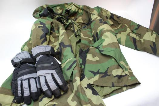 Parka Camouflage Jacket, 3m Gloves, Size S, 2 Pieces