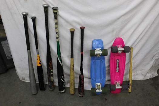 Penny Skateboard, Easton Baseball Bat And More Bulk Lot, 9 Pieces