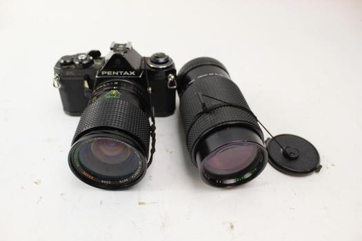 Pentax ME 35mm SLR Camera, Camera Lens 28-85mm, 70-210mm: 3 Items