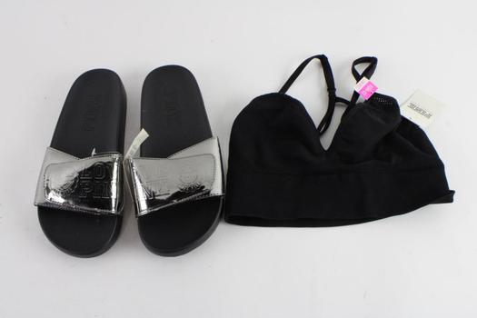 Pink By Victoria's Secret Slides And Bralette, S And M, 2 Pieces