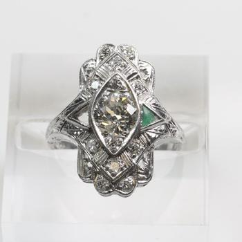 Platinum 1.11 TW Diamond Ring With Emerald - Evaluated By Independent Specialist