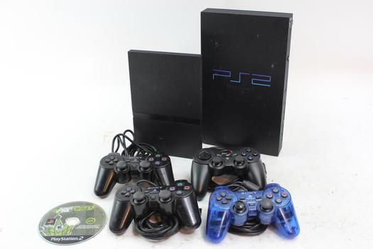 PlayStation 2 Game Consoles With Accessories, 6 Pieces