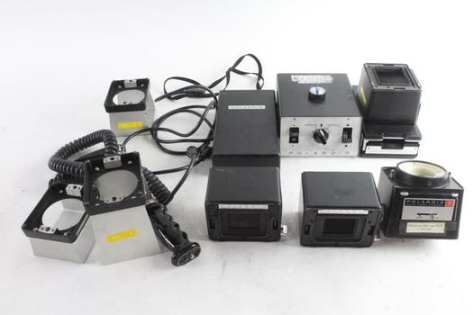 Polaroid CU-5 Instant Camera And Accessories, In Gray Samsonite Case
