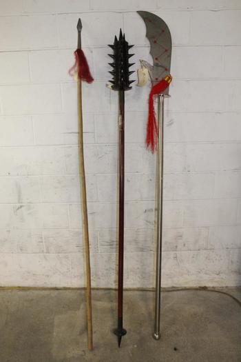 Pole Mace And Other Staffs, 3 Pieces