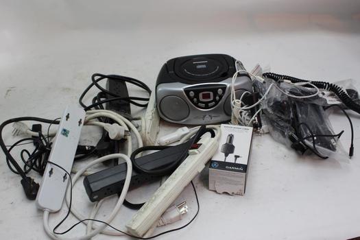 Power Cords, Sylvania Portable Stereo, & More; 5+ Pieces
