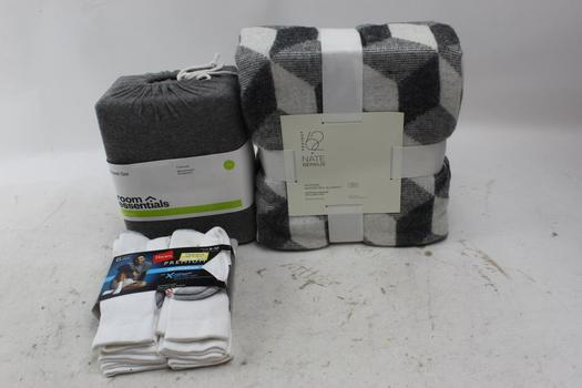 Project 62 Blanket, Room Essentials Sheet, Hanes Socks: 3 Items