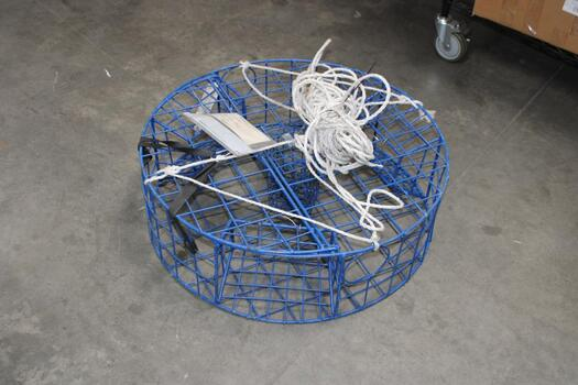 Promar Heavy Duty Circle-Shaped Crab Pot With Blue Vinyl Covering