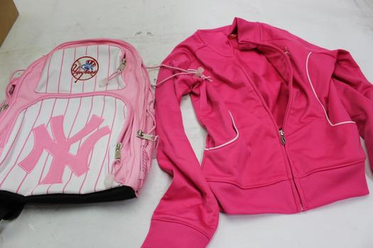 Puma Girl's Jacket And NY Yankees Backpack, 2 Pieces, New