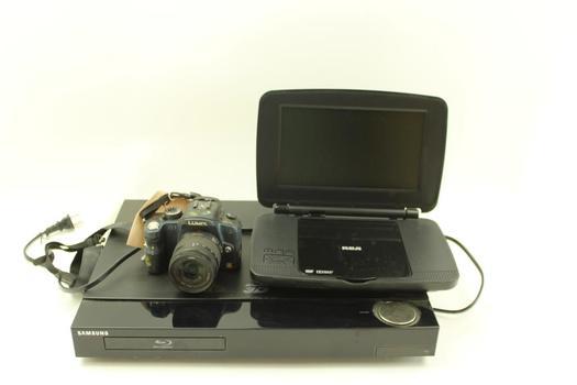 Rca Portable Dvd Player, Lumix G1 Digital Camera, & Samsung 3d Blu-ray Player; 3 Pieces