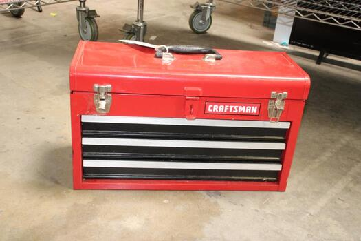 Red Craftsman Tool Box With Hand Tools