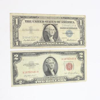 Red Seal $2 And Silver Certificate $1 Bills