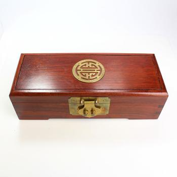Red Stain Wooden Oriental Style Jewelry Box