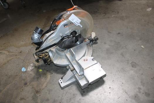 """Ridgid 15A Corded 12"""" Dual Bevel Miter Saw With Adjustable Laser Guide And Dust Bag 40J7"""