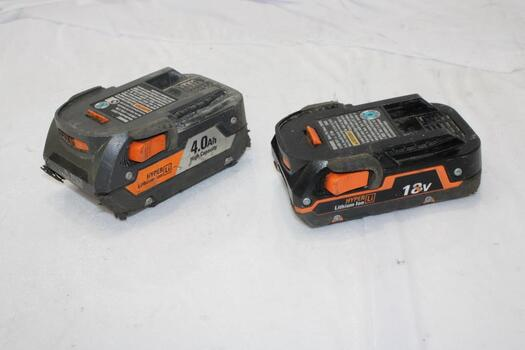 Ridgid 18V Rechargeable Lithium Ion Battery Packs, 2 Pieces