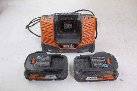 Ridgid Batteries W/charger; 3 Pieces