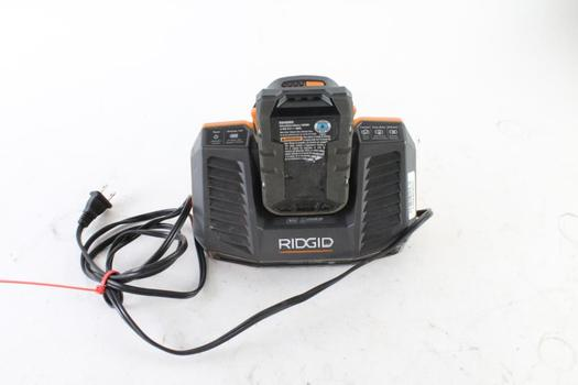 Ridgid Charger And Battery, 2 Pieces