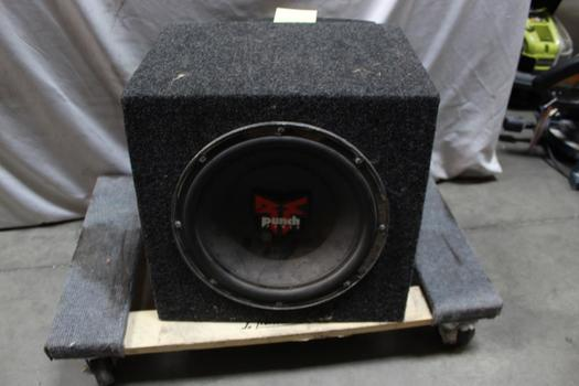 Rockford Fostgate Punch Power Speaker With JL Audio Amp Connected To Box