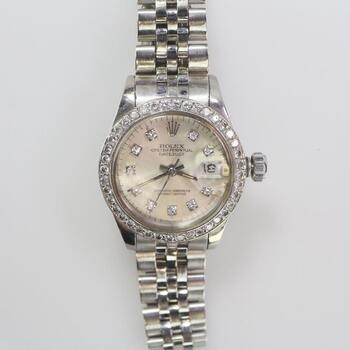 Rolex Diamond & 18k White Gold DateJust Watch - Evaluated By Independent Specialist