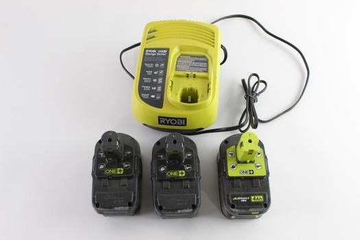 Ryobi Battery Charger With Battery Packs, 4 Pieces