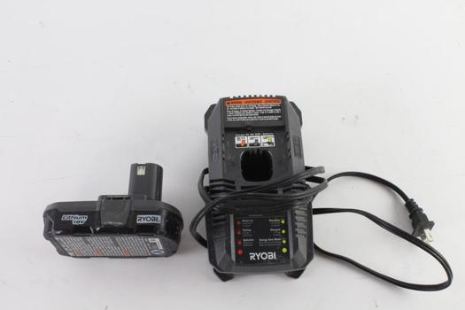 Ryobi Battery Pack And Charger, 2 Pieces