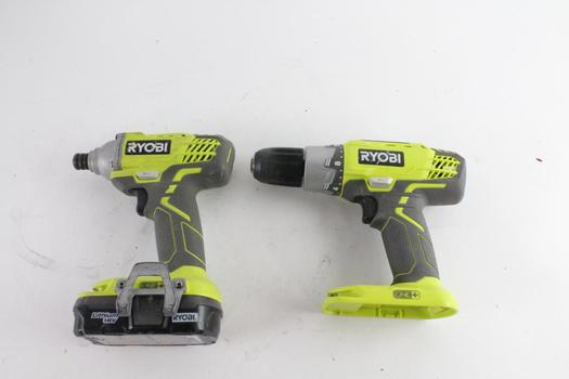 Ryobi Cordless Impact Driver And Cordless Power Drill, 2 Pieces