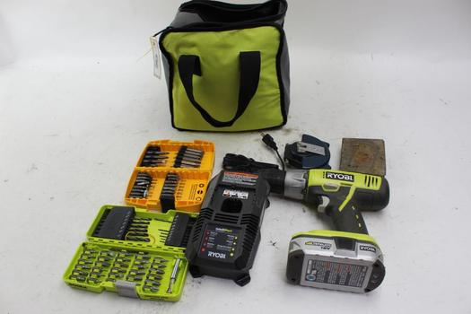 Ryobi Drill With Assorted Tools 10+ Pieces
