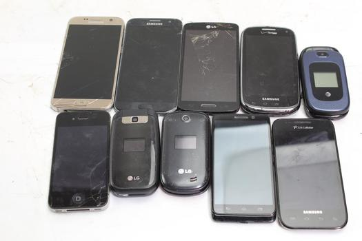 Samsung, Apple, Lg+ More Cell Phone Lot,  10 Pieces, Sold For Parts