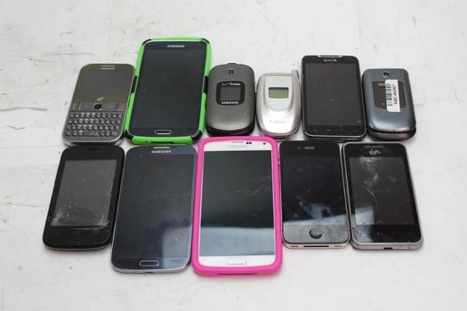 Samsung, Apple, Lg+ More Cell Phone Lot, 11 Pieces, Sold For Parts