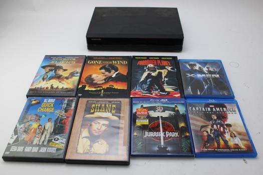 Samsung DVR & Assorted Dvd & Blu-ray Movies; 7+ Pieces