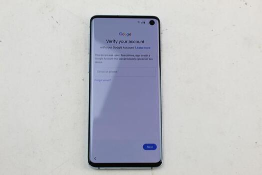 Samsung Galaxy S10, 128GB, Unknown Carrier, Google Account Locked, Sold For Parts