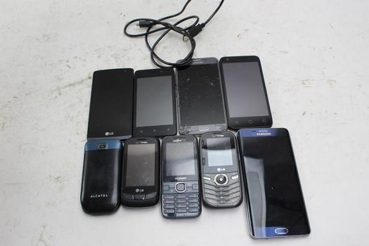 Samsung, Lg, Alcatel+ More Cell Phone Lot, 10 Pieces, Sold For Parts