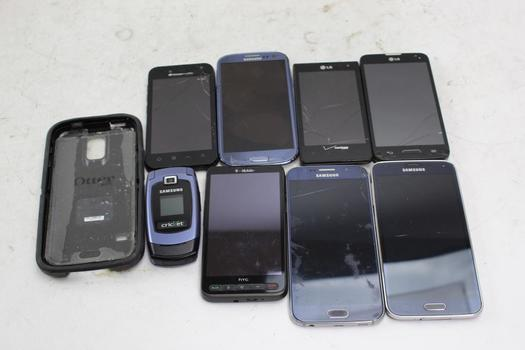 Samsung, LG And More Cell Phone Lot, 8 Pieces, Sold For Parts