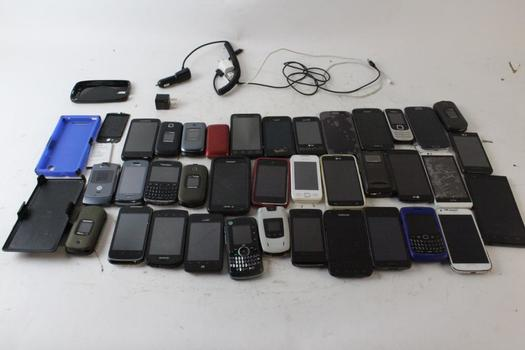Samsung, LG, Google, & More Cell Phone Lot, 10+ Pieces, Sold For Parts